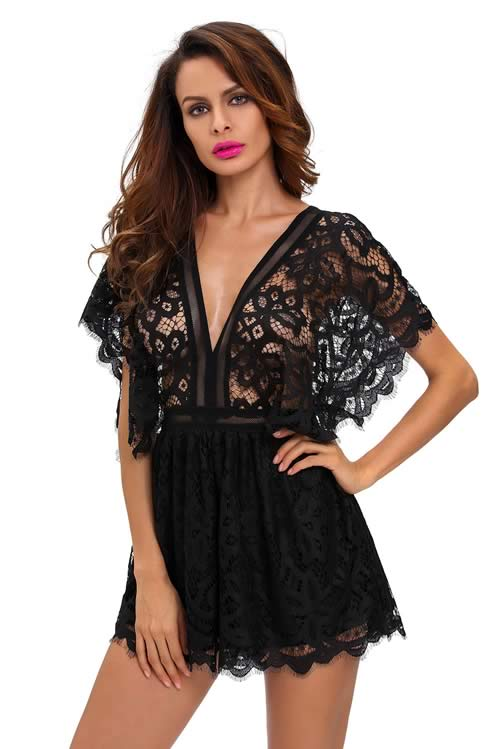 V Neck Lace Sheer Top Hollow Out Back Romper in Black