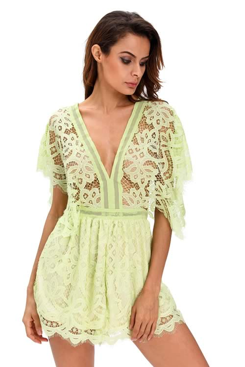 V Neck Lace Sheer Top Hollow Out Back Romper in Green