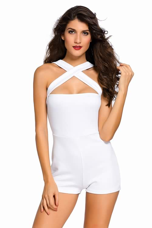 Sleeveless Crisscross Striped Design Zipper Romper in White