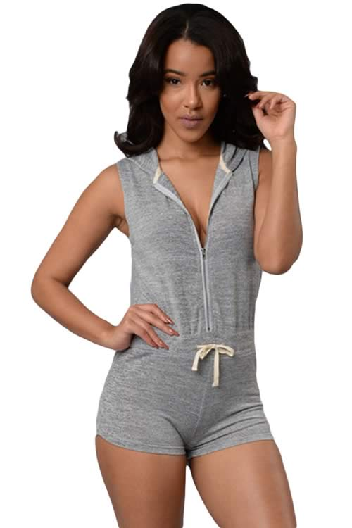 Womens Stretch Sleeveless Hooded Sport Romper in Grey