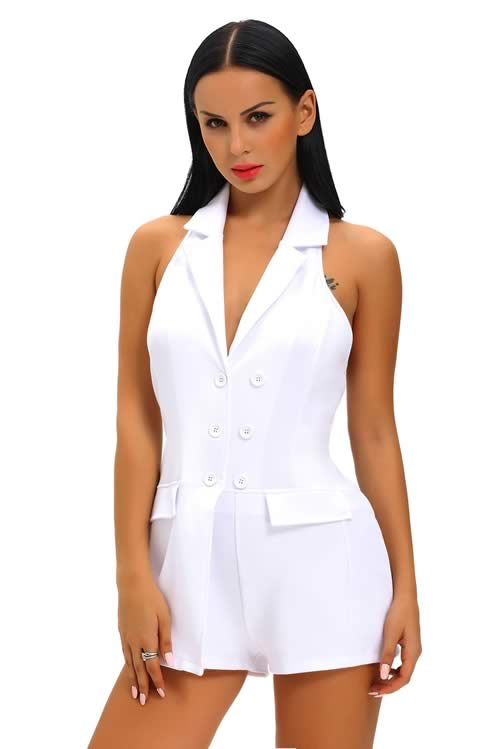 V Neck Double Breasted Halter Backless Romper in White