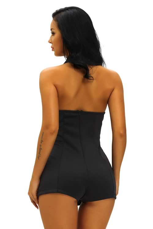 V Neck Double Breasted Halter Backless Romper in Black