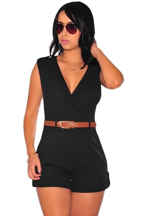 Sleeveless V Neck Belted Summer Romper in Black