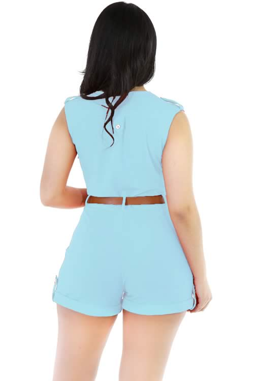 Sleeveless V Neck Belted Summer Romper in Blue