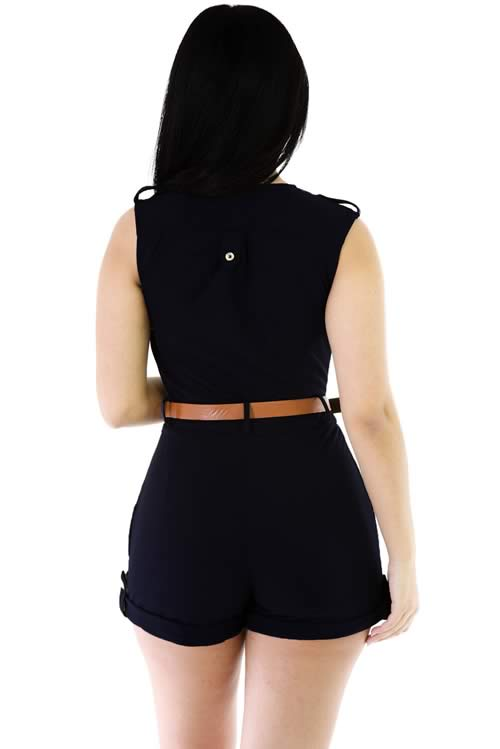 Sleeveless V Neck Belted Summer Romper in Dark Blue
