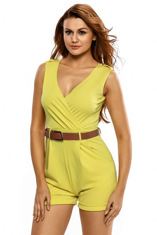 Sleeveless V Neck Belted Summer Romper in Yellow