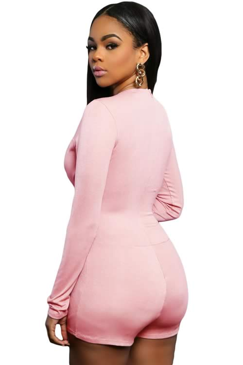Womens Plunge V Neck Long Sleeve Romper in Pink