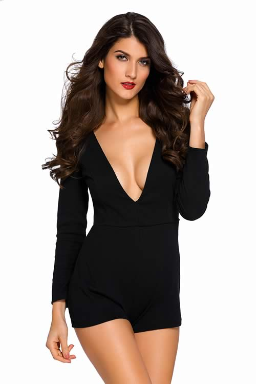 Womens Plunge V Neck Long Sleeve Romper in Black