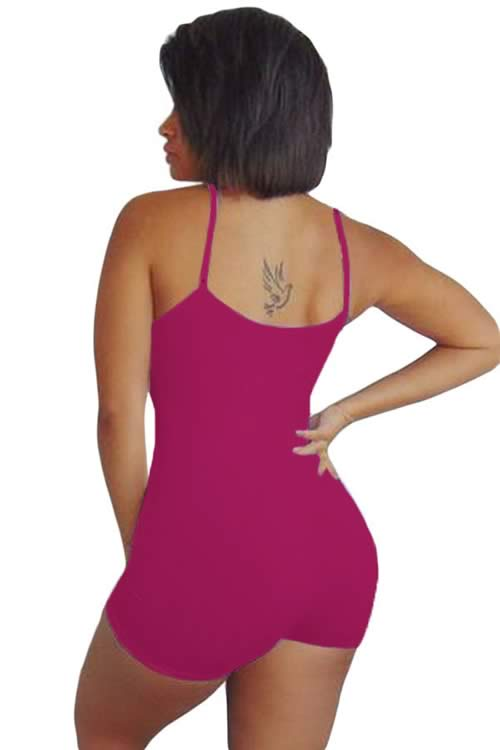 Spaghetti Strap Scoop Neck Tight Romper in Rose