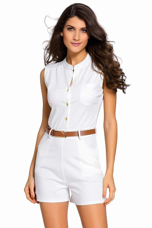V Neck Sleeveless Button Front Belted Romper in White