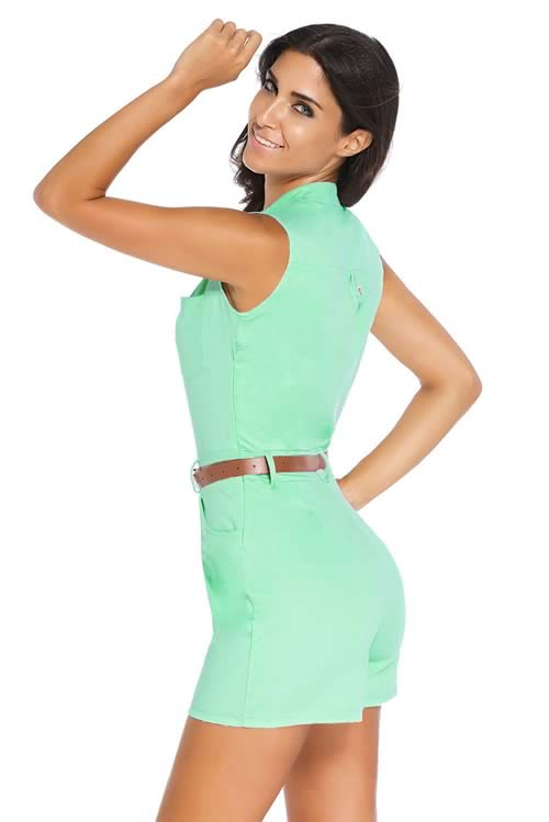V Neck Sleeveless Button Front Belted Romper in Green