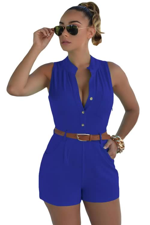 V Neck Sleeveless Button Front Belted Romper in Blue