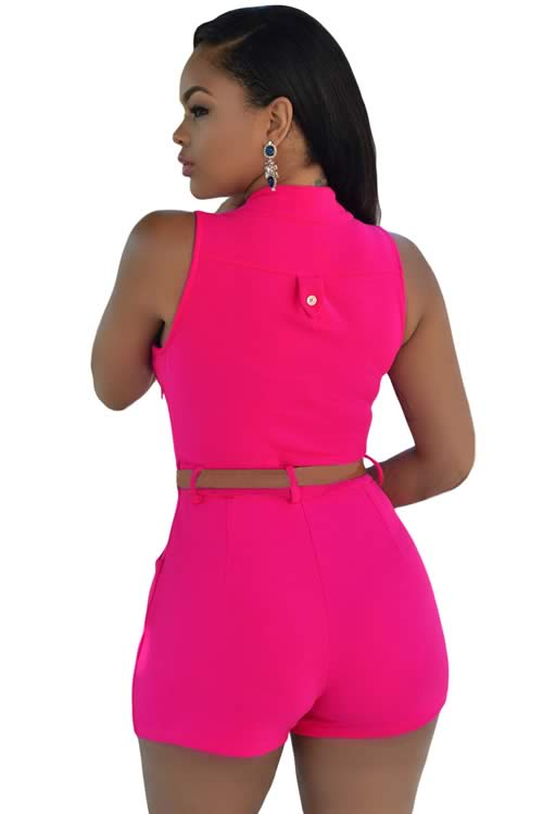 V Neck Sleeveless Button Front Belted Romper in Rose