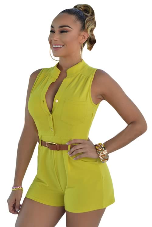 V Neck Sleeveless Button Front Belted Romper in Yellow