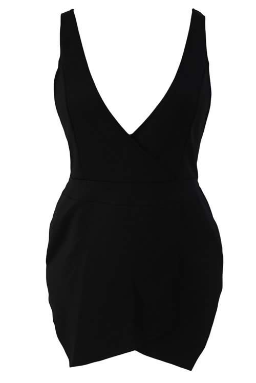 Sleeveless V Neck Cross Back Short Romper in Black