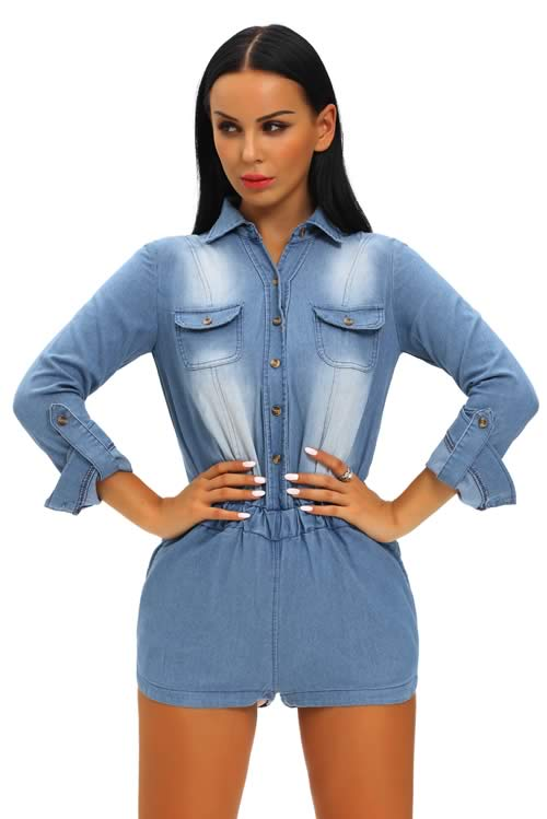 Womens 3/4 Rolled up Sleeve Denim Romper in Blue