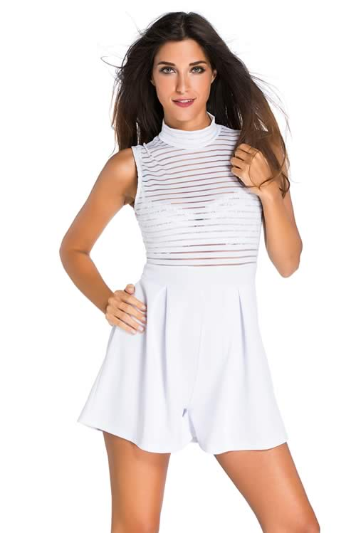 High Neck Sleeveless Sheer Striped Romper in White