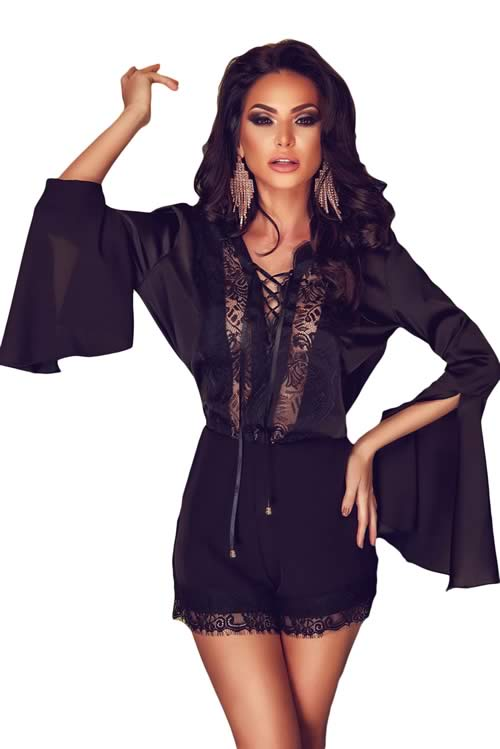 Split Bell Sleeve Floral Lace Chiffon Romper in Black