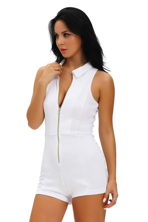 Womens Sleeveless Fitted Shirt Collar Romper in White