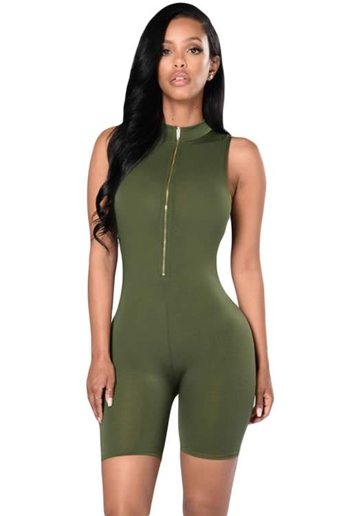 Zip Front Mock Neck Sleeveless Capri Romper in Green