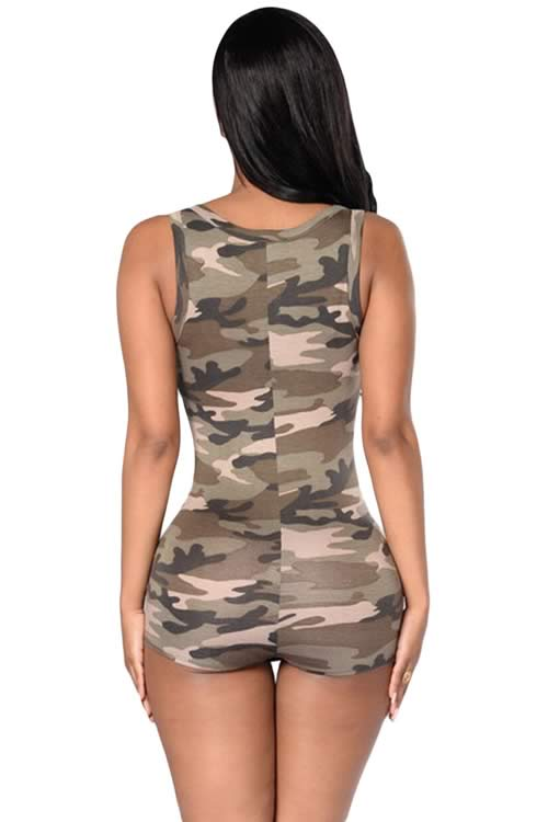 V Neck Sleeveless Camo Romper Short Bodysuit