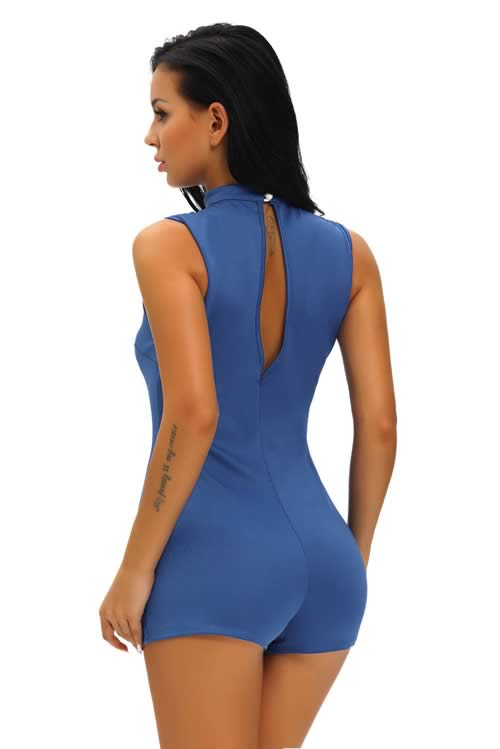 Sleeveless Choker Peep Hole Zipper Romper in Blue