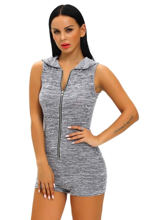 Sleeveless Zip Front Hooded Casual Romper in Grey