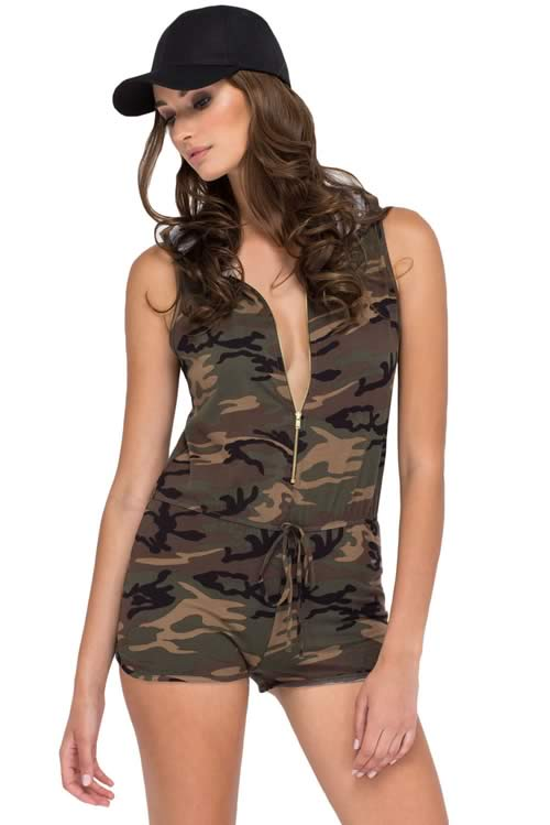Sleeveless Zippered front Hooded Camo Romper