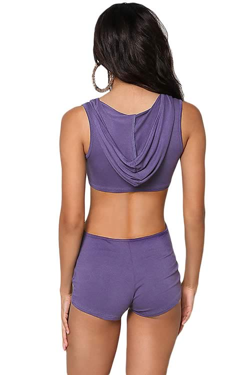 Sleeveless Knit Cut Out Hooded Jersey Romper in Purple