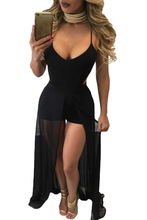 V Neck Wrap Around Back Veil Skirt Romper in Black