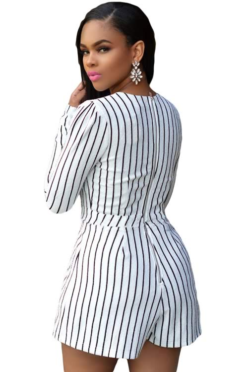 Long Sleeve Striped Plunging V Neck Romper in White