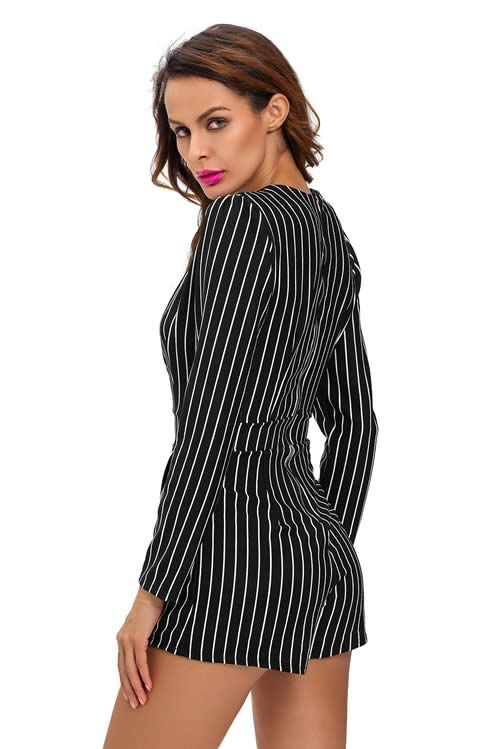 Long Sleeve Striped Plunging V Neck Romper in Black