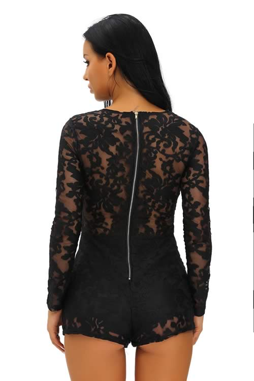 Lace Long Sleeve Lace Up Front Romper in Black