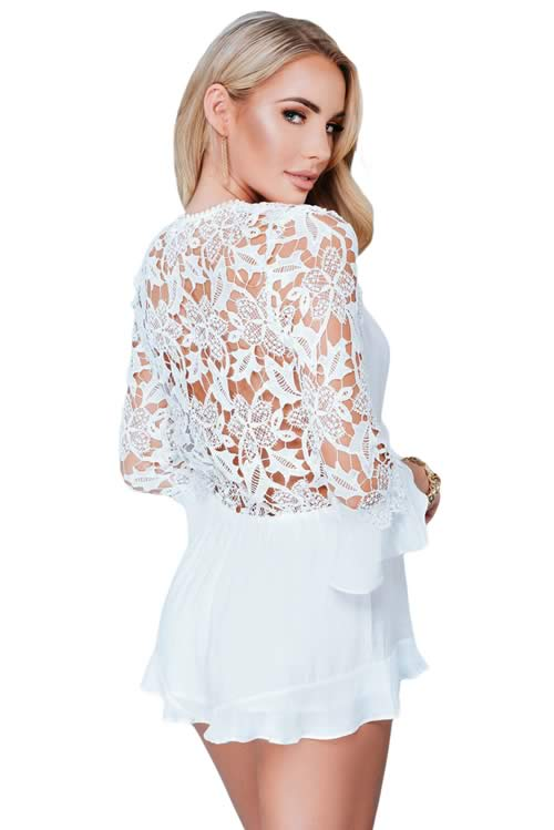 Lace Long Sleeve V Neck Tie front Mini Romper in White
