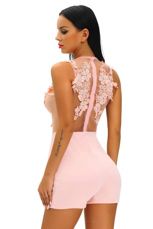 Crochet Floral Mesh Sleeveless Romper in Pink