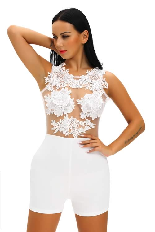Crochet Floral Mesh Sleeveless Romper in White