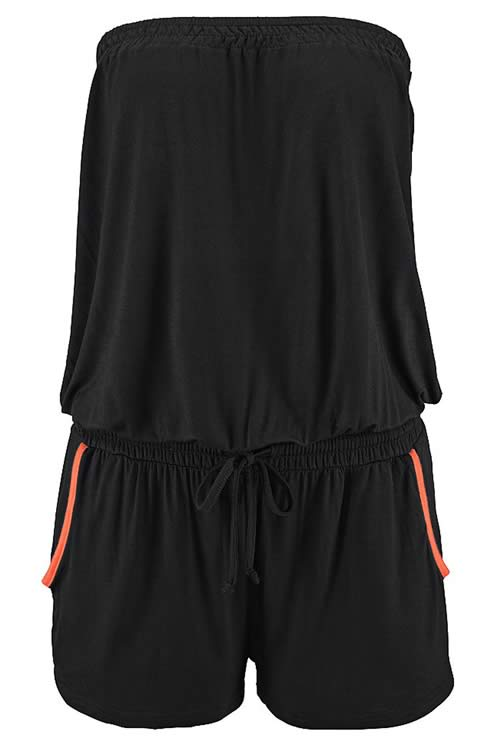 Strapless Sleeveless Slant Pocket Romper in Black