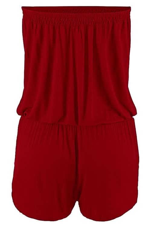 Strapless Sleeveless Slant Pocket Romper in Red