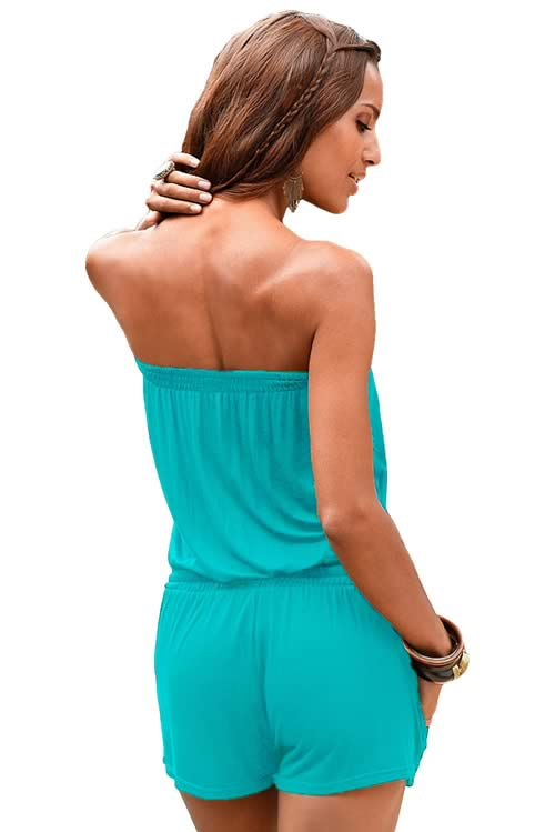 Strapless Sleeveless Slant Pocket Romper in Blue