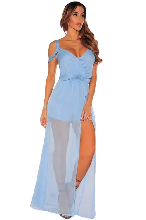 Sleeveless Faux Wrap Maxi Tulle Romper in Blue