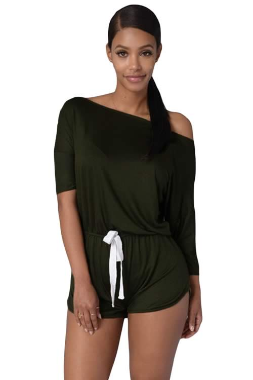 Off Shoulder 3/4 Sleeve Drawstring Casual Romper in Green