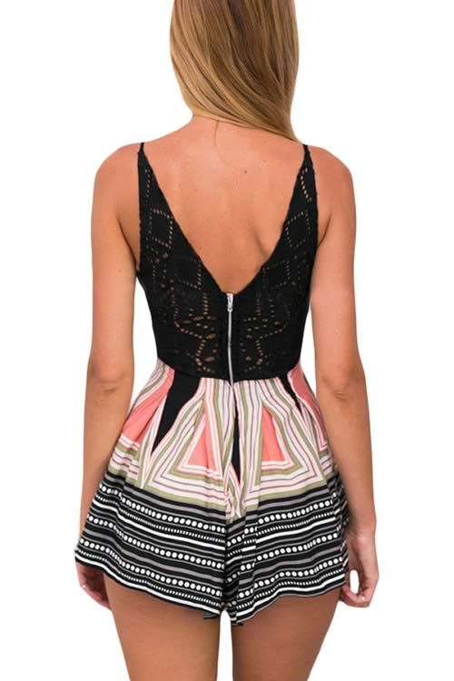 Deep V Neck V Back Lace Spliced Printed Romper in Black