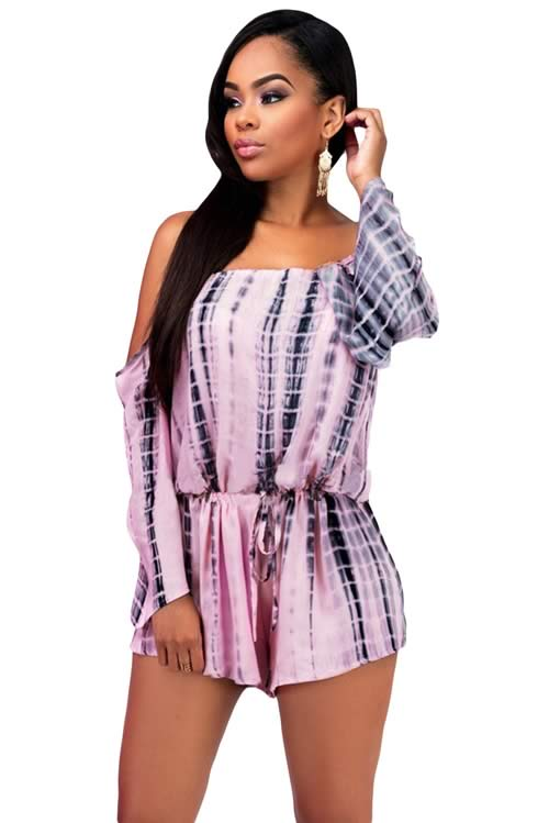 Off The Shoulder Long Sleeve Tie Dye Drawstring Romper in Pink