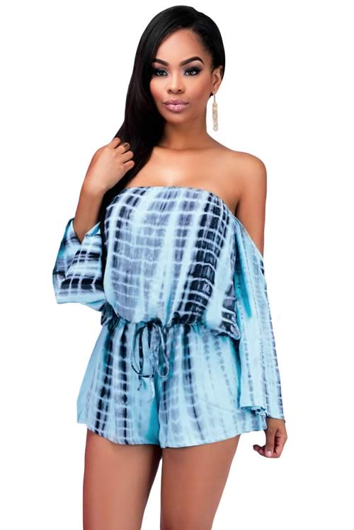 464e714baac2 Off The Shoulder Long Sleeve Tie Dye Drawstring Romper in Blue