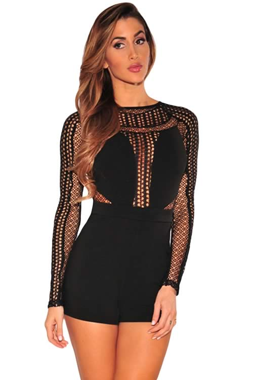 Mesh Long Sleeve Keyhole back Romper in Black