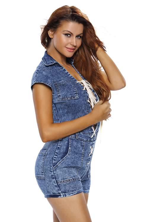 Short Sleeve V Neck Denim Lace up Romper in Blue