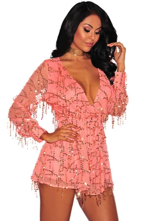 Deep V Neck Sequin Long Sleeve Romper in Pink