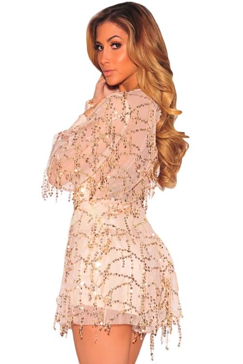 Deep V Neck Sequin Long Sleeve Romper in Beige
