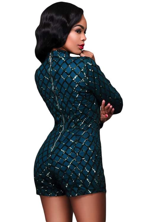 Diamond Sequin Long Sleeve High Neck Romper in Green