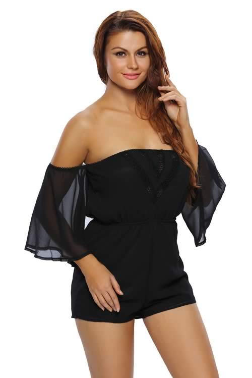 Sheer Bell Sleeve Elastic Off Shoulder Romper in Black
